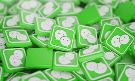 Pile of 3D WhatsApp Logos