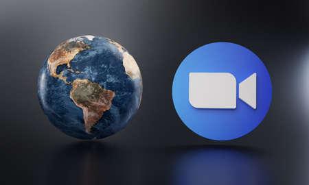 Zoom Logo Beside Earth 3D Rendering. Top Apps Concept