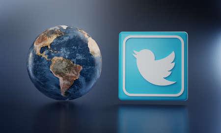 Twitter Logo Beside Earth 3D Rendering. Top Apps Concept