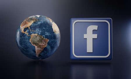 Facebook Logo Beside Earth 3D Rendering. Top Apps Concept