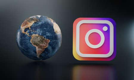 Instagram Logo Beside Earth 3D Rendering. Top Apps Concept