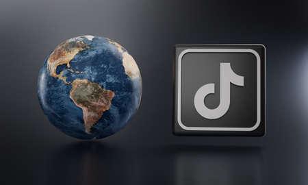 TikTok Logo Beside Earth 3D Rendering. Top Apps Concept