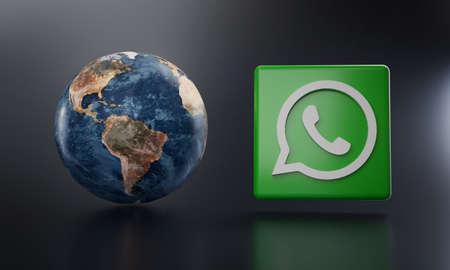 WhatsApp Logo Beside Earth 3D Rendering. Top Apps Concept