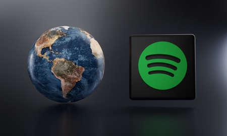 Spotify Logo Beside Earth 3D Rendering. Top Apps Concept Редакционное