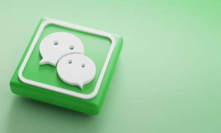 WeChat 3D Rendering Close up. Account Promotion Template. Редакционное