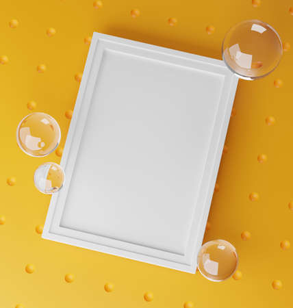 Stylish Mock Up Poster Frame Template. Fresh and Minimalist 3D Rendering. Yellow Background Stock Photo