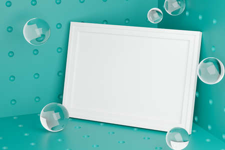 Stylish Mock Up Poster Frame Template on Corner Room. Glass Bubbles Fresh and Minimal 3D Rendering. Turquoise Background Stock Photo