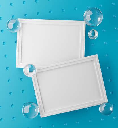 Two Frames Stylish Mock Up Poster Template. Glass Bubbles Fresh and Minimal 3D Rendering. Blue Background