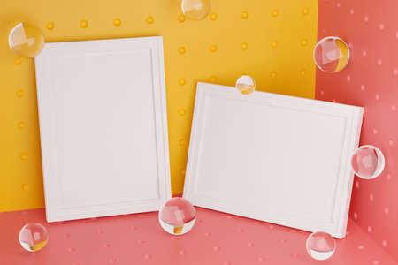 Two Frames Stylish Mock Up Poster Template on Corner Room. Glass Bubbles Fresh and Minimal 3D Rendering. Yellow and Pink Background