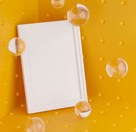 Stylish Mock Up Poster Frame Template on Corner Room. Glass Bubbles Fresh and Minimal 3D Rendering. Yellow Background