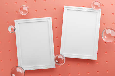 Two Frames Stylish Mock Up Poster Template. Glass Bubbles Fresh and Minimal 3D Rendering. Pink Background Stock Photo