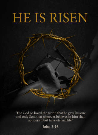 He is Risen. Easter Poster Design Jesus Christ Crown of Thorns Nails and Hammer Symbol of Resurrection 3D Rendering