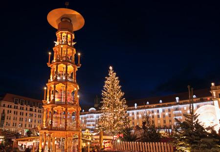 market hall: christmas market in Dresden Stock Photo