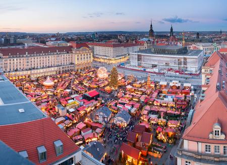 striezelmarkt: christmas market in Dresden seen from above Stock Photo