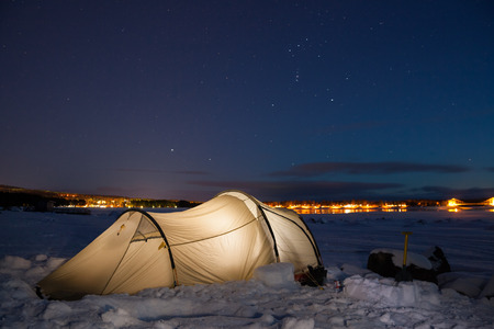 sweden in winter: campsite in sweden in the winter time Stock Photo