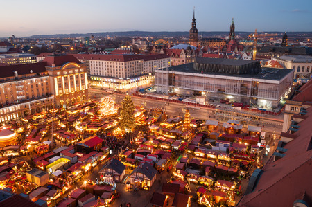 christmas market in Dresden seen from above Stock Photo