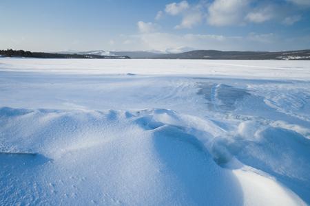 lake sunset: frozen lake in sweden Stock Photo