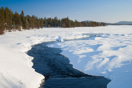sweden in winter: cold winter day in sweden