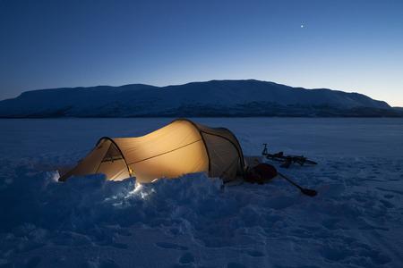 illuminated: illuminated tent in sweden in the evening Stock Photo