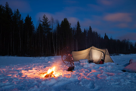 campsite in sweden in the winter time Stock Photo