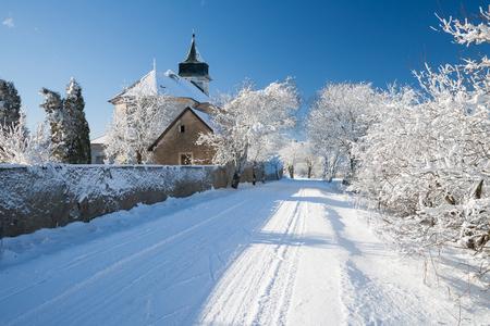republik: old church in the czech republik in the winter