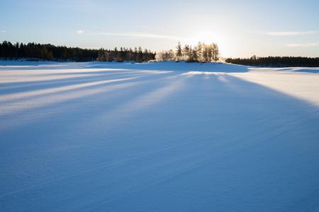 sweden in winter: evening mood in sweden in winter