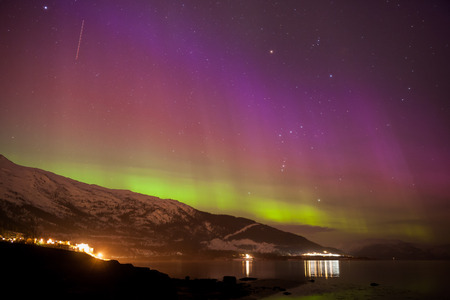Aurora borealis display in norway during a strong solar storm in march 2015