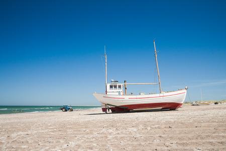 jutland: boats on a beach in denmark Stock Photo
