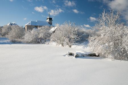 erzgebirge: old church in the czech republik in the winter