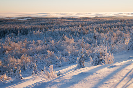 republik: sunrise over a winter landscape with fog Stock Photo