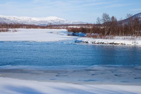winter finland: frozen lake in sweden Stock Photo