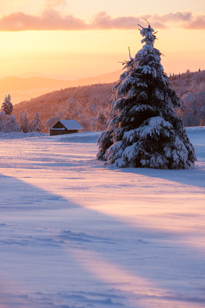 erzgebirge: sunrise ober a beautiful winter landscape with a a little wooden house Stock Photo