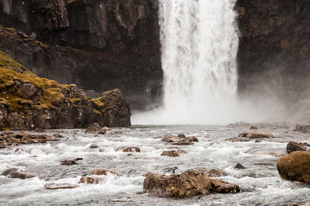 waterfall Gufufoss in east iceland