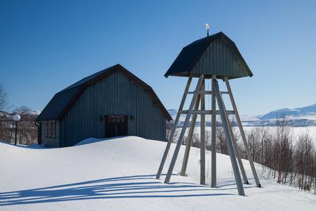 sweden winter: little bellfry in a small village in sweden Stock Photo