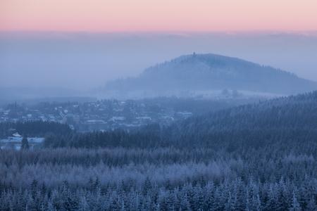 erzgebirge: Winter landscape in Germany short before sunrise