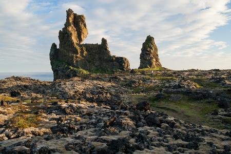 Lava formation Londrangar on Snaefellsnes peninsula in Iceland at sunset