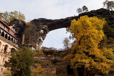 czech switzerland: Sandstone bridge Prebischtor in beohemian switzerland