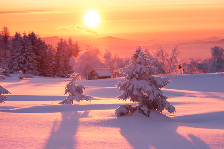 Golden sunlight over a white idyllic winter landscape with a little wooden hut in background