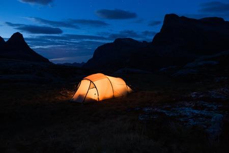 iluminated: Iluminated tent in Norway at night