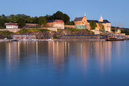 iluminated: Iluminated Akershus Fortress in Oslo during the blue hour