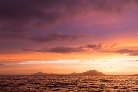 Colorful sunset at the Atlantic coast in Norway