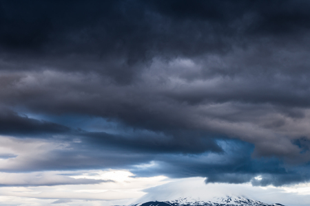hekla: Dark Clouds over the volcano Hekla in iceland Stock Photo