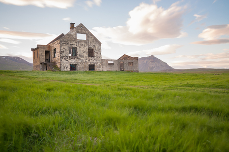 Abandoned house on snaefellsnes peninsula on Iceland with the vulcano Snaefellsjokull in background Stock Photo