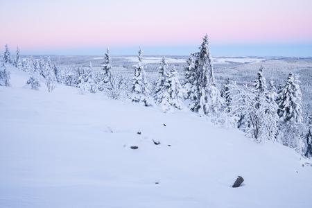 erzgebirge: sunrise over a beautiful winter landscape in winter