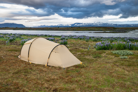 Camping in Iceland and the volcano Hekla in background