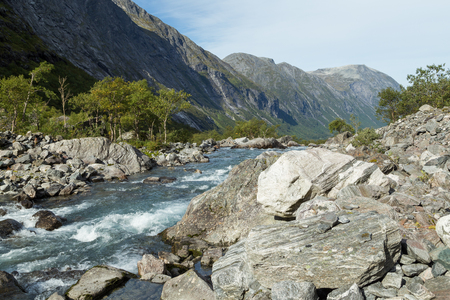 jostedal: River course in a norwegian valley