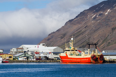 little town Siglufjordur in northern iceland on a sunny day