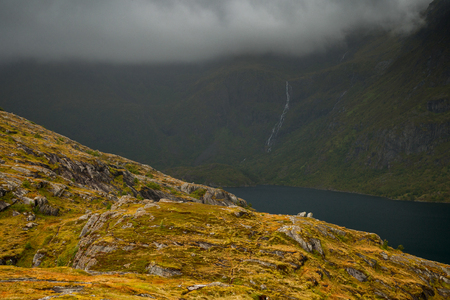 deep fjord on teh Lofoten islands in norway