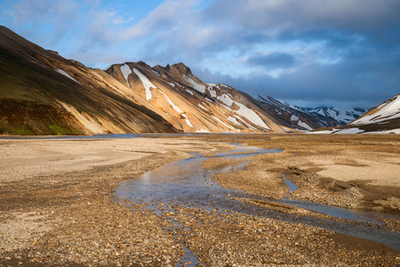 Sunset at Landmannalaugar in Iceland with colorful mountains in background Stock Photo