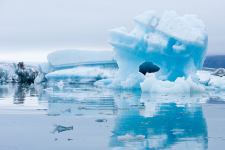 Icebergs swimming on Jokulsarlon glacier lagoon in Iceland Stock Photo